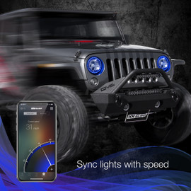 Use smartphone to sync RGB 7in RGB halo to vehicles speed