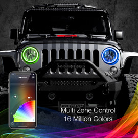Multi Zone Control & 16 Million Colors via smartphone app to display multiple colors to 7in halo ring.