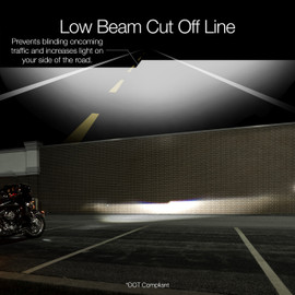 Low Beam cut off line. Prevents blinding oncoming traffic and keep the light on your side of the road.