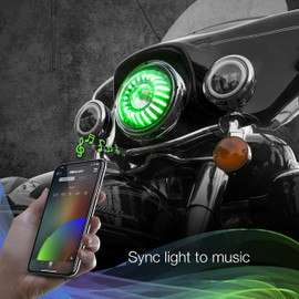 Use smartphone to sync RGB 7in motorcycle headlights to music beats.