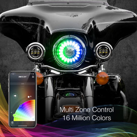 Multi Zone Control & 16 Million Colors via smartphone app to display multiple colors to 7in motorcycle headlights