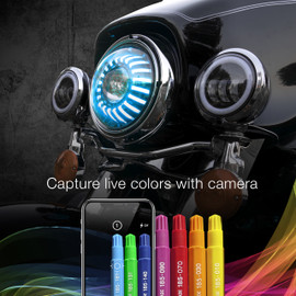 Capture live colors with Camera via smartphone app to display color onto 7in motorcycle headlights