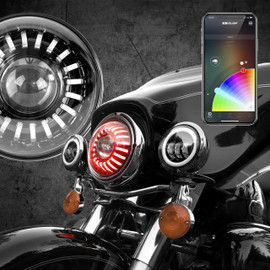 "7"" RGB LED Harley Headlight XKchrome Bluetooth App Controlled Kit"