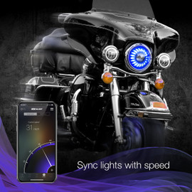 Use smartphone to sync RGB 7in motorcycle headlights to motorcycle speed.