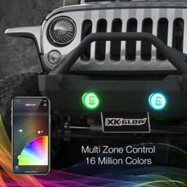 Multi Zone Control & 16 Million Colors via smartphone app to display multiple colors to jeep fog lights