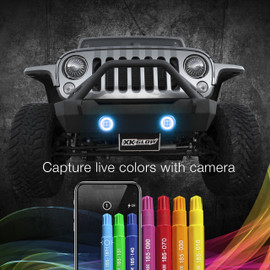 Capture live colors with Camera via smartphone app to display color onto jeep fog lights