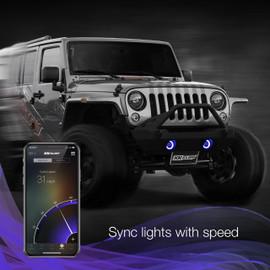 Use smartphone to sync RGB Jeep fog lights to vehicle speed