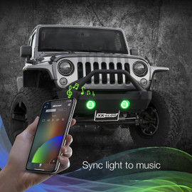 Use smartphone to sync RGB Jeep fog lights to music beats.