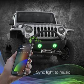 Use smartphone to sync RGB Jeep fog lights to music beats.