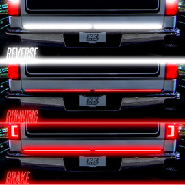 Reverse, Running, & Brake Light displayed on truck tailgate light
