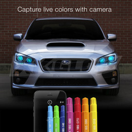 Capture live colors with Camera via smartphone app to display color onto devil eye