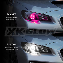 Shuts off when headlight is on. Reduces heat and improves LED life.
