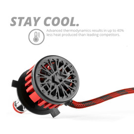 Stay Cool Advanced Thermodynamics results in up to 40% less heat produced than leading competitors