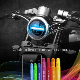 Capture live colors with Camera via smartphone to display colors onto 5.75 headlight.