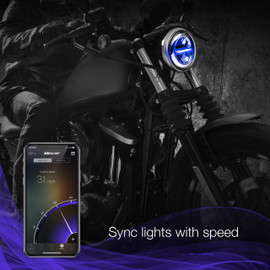 Use smartphone to sync RGB 5.75 headlight to vehicle momentum.