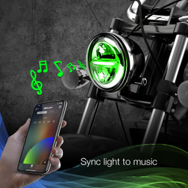 Use smartphone to sync RGB 5.75 headlight to music beats.