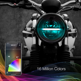 Multi Zone Control & 16 Million Colors used via smartphone app to display colors on to 5.75 headlight