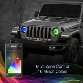 Multi Zone Control & 16 Million Colors used via smartphone to display the colors onto 7 in headlight