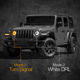 7in headlight installed onto jeep displaying ultra bright white and amber turn signal