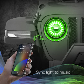 Use smartphone to sync 7in headlights to music beats.
