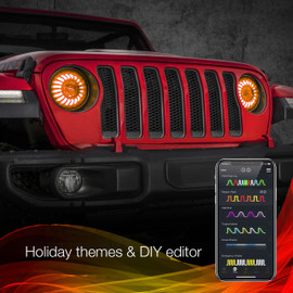 Holiday Theme & DIY Presets used via smartphone to display selected options colors to 7in headlight
