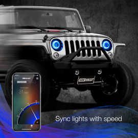 Use smartphone to sync 7in headlights to vehicle momentum