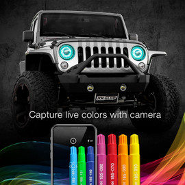 Capture live colors with Camera used via smartphone to display colors onto 7in headlight