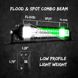 Flood & Spot Combo Beam. Low Profile & Light weight.