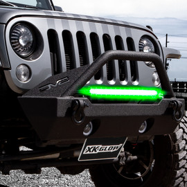 2-in-1 LED Light Bar w/Pure White & Green Hunting Fishing Modes mounted on jeep