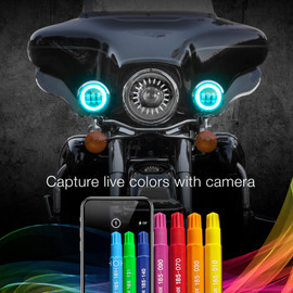 Capture live colors with Camera using XKchrome app to display the colors onto driving lights.