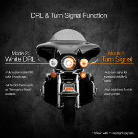 RGB Driving lights used on motorcycle to display ultra bright white and amber turn signal
