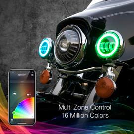 Multi Zone Control & 16 Million Colors used to display multiple colors onto motorcycle driving lights