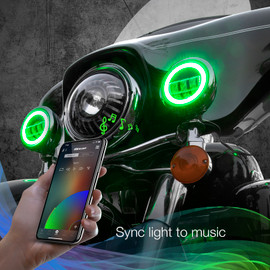 Use smartphone to sync RGB driving lights to music beats.
