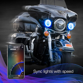 Sync RGB driving lights to vehicle momentum via the XKchrome app.