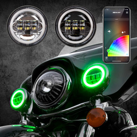 4.5in Chrome/Black Harley Running Light RGB XKchrome Bluetooth App Controlled Kit