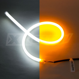 2pc extremely flexible tubes with ultra bright white and amber turn signal