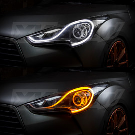 2pc Sequential Switchback LED Strip Kit used in car headlight to show custom layout in headlight assembly