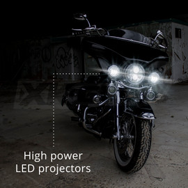 High Power LED Projectors equipped onto motorcycle