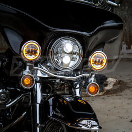Chrome or Black Motorcycle LED Driving Lights display amber color