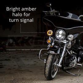 Bright amber halo for turn signal used on motorcycle