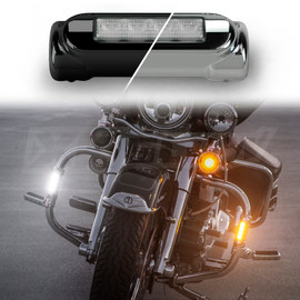 Black or Chrome Motorcycle Highway Bar Switchback Driving Lights with active turn signal