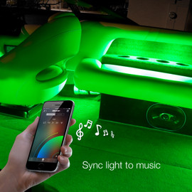 Use smartphone to sync boat light kit to music beats.