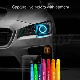 Capture live colors with Camera using XKchrome app to display color onto halo.