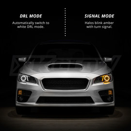 Automatically switch to white DRL mode. Halos blink amber with turn signal.