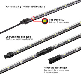 12 in Ultra Slim Polycarbonate Tube with Top Grade LEDs.