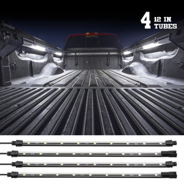 4pc White Truck Bed Lighting. 12in tubes used to light up a truck bed.
