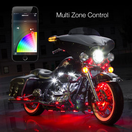 Multi Zone Control & 16 Million Colors used with App controlled motorcycle lights.