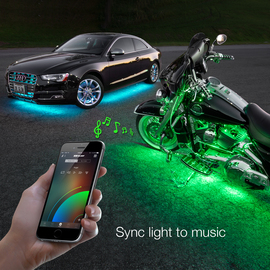 Use smartphone to sync XKchrome motorcycle lights to music beats.