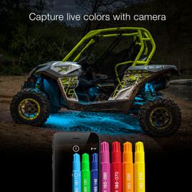 Capture live colors with Camera via app to display colors via UTV / ATV lights