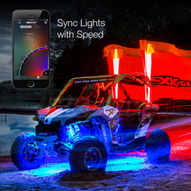 Use smartphone to sync UTV / ATV lights to Vehicle speeds